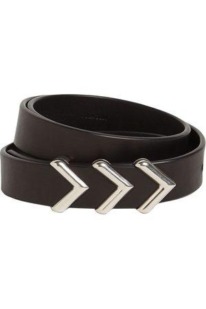 Bottega Veneta 2cm Metal Chevron Leather Belt