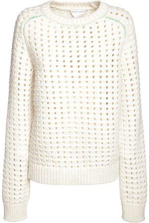Bottega Veneta Naiset Collegepaidat - Wool Open Cable Knit Crewneck Sweater