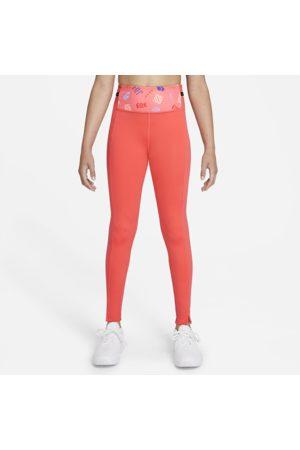 Nike Tytöt Leggingsit - Dri-FIT One Luxe Older Kids' (Girls') Printed Leggings - Orange