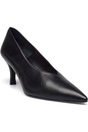 Flattered Fabienne Black Leather Shoes Heels Pumps Classic