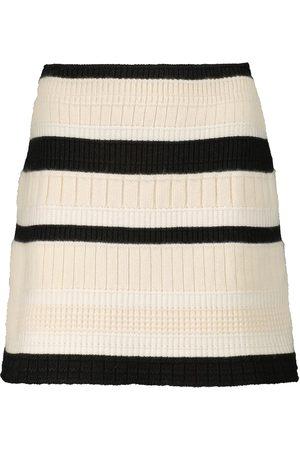 Barrie Striped cashmere miniskirt