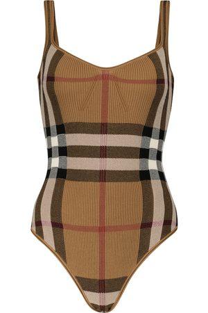 Burberry Checked cotton-blend bodysuit