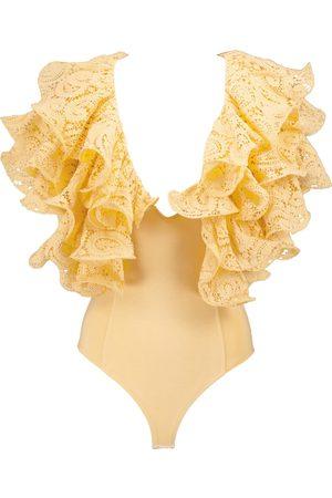ROTATE Carmen lace-trimmed cotton bodysuit