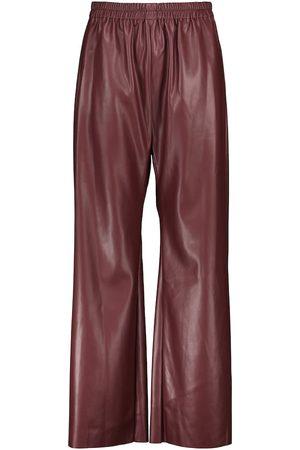 Deveaux New York Naiset Nahkahousut - Savannah faux leather wide-leg pants