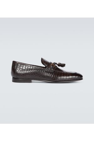 Tom Ford Leather croc-effect loafers