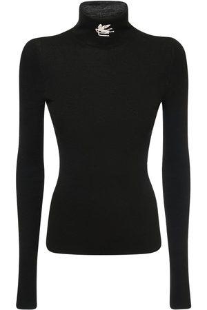 ETRO Naiset Poolopaidat - Wool Knit Logo Turtleneck Sweater