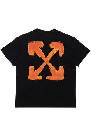 OFF-WHITE KIDS Logo Print Cotton Jersey T-shirt