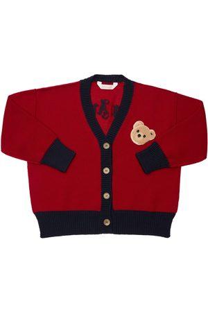 PALM ANGELS Pojat Neuletakit - Wool Knit Cardigan W/ Bear Patch