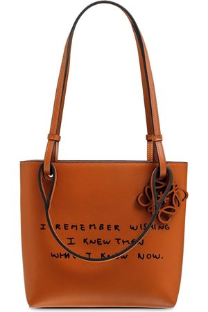 Loewe Dh Square Words Leather Tote Bag