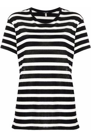 R13 Naiset T-paidat - Striped cashmere-cotton T-shirt
