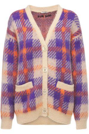 Miu Miu Check Mohair Blend Knit Cardigan