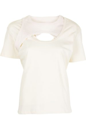 Dion Lee Naiset T-paidat - Cut-out layered cotton T-shirt