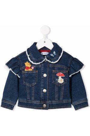 MONNALISA Farkkutakit - Winnie-the-Pooh embroidered denim jacket