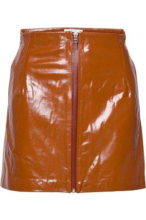 REMAIN Birger Christensen Katy Skirt Leather Lyhyt Hame Oranssi
