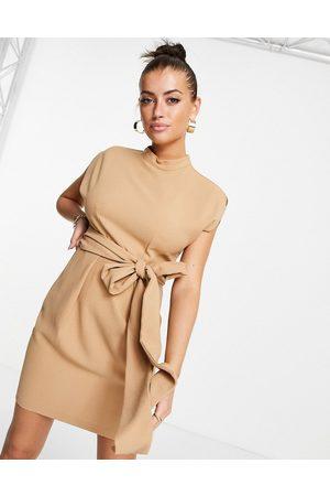Closet Belted tie waist mini dress in sand-Neutral