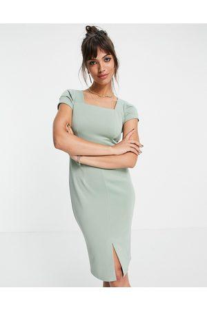 closet london Square neck cap sleeve pencil dress in sage-Green