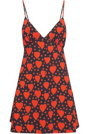 SAINT LAURENT Heart Print Viscose Mini Dress