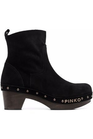 Pinko Logo-lettering clog style ankle boots