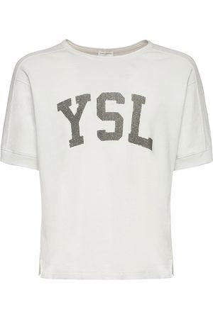 Saint Laurent Logo Print Cotton T-shirt