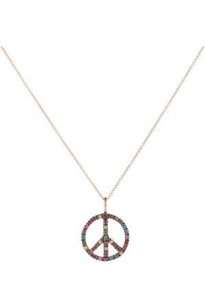 Ileana Makri Peace Symbol 18kt rose gold necklace with diamonds