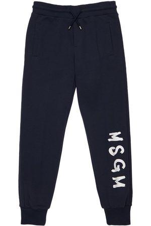 Msgm Tytöt Collegehousut - Logo Print Cotton Sweatpants
