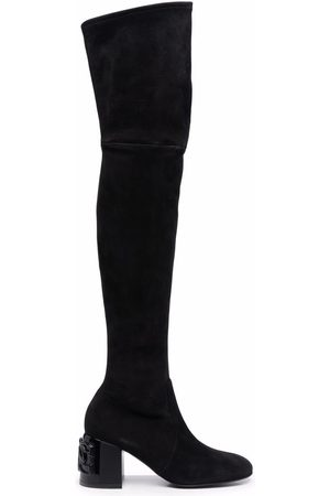 Casadei Naiset Ylipolvensaappaat - C-Chain thigh-high suede boots