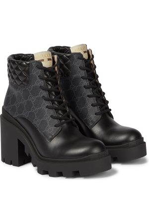 Gucci GG Supreme and leather ankle boots