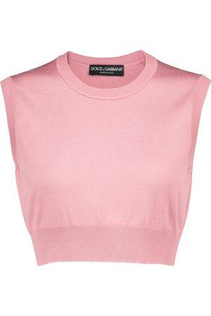 Dolce & Gabbana Ribbed-knit silk crop top