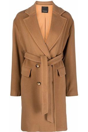 Pinko Naiset Villakangastakit - Double-breasted wool coat