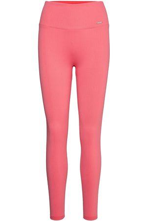 aim'n Naiset Leggingsit - Coral Ribbed Seamless Tights Running/training Tights Vaaleanpunainen