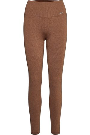 aim'n Naiset Leggingsit - Bronze Ribbed Seamless Tights Running/training Tights Ruskea
