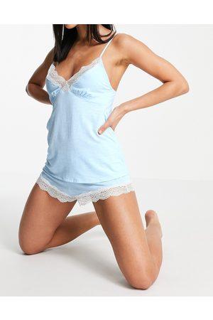 Dorina Ady lace trim cami short set in blue