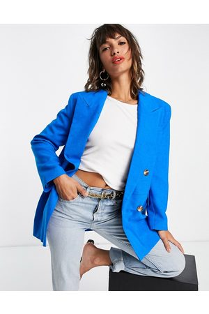 Topshop Naiset Bleiserit - Double breasted bold shoulder blazer in bright blue