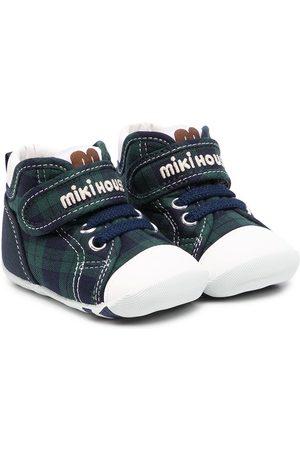 Miki House Tartan touch-strap sneakers