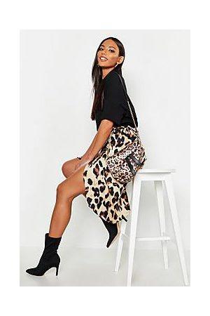 Boohoo Leopard Print Satin Wrap Midi Skirt
