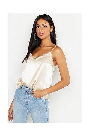 Boohoo Lace Trim Side Split Cami Top