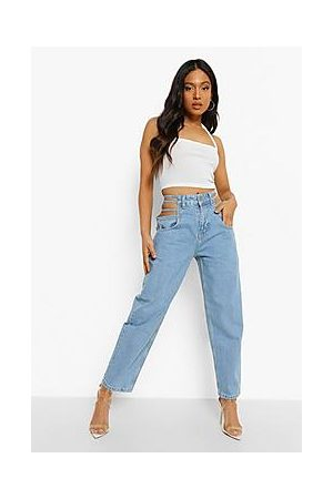 Boohoo Petite Strappy High Waist Mom Jeans