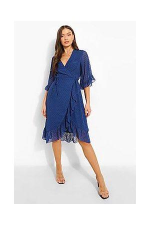 Boohoo Dobby Chiffon Wide Sleeve Midi Wrap Dress