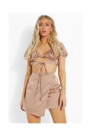 Boohoo Satin Tie Crop & Wrap Mini Skirt