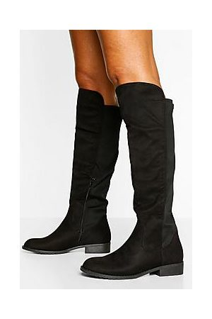 Boohoo Naiset Ylipolvensaappaat - Wider Calf Knee High Riding Boots
