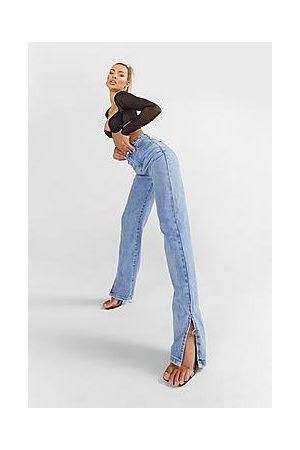Boohoo High Rise Split Hem Straight Leg Jeans