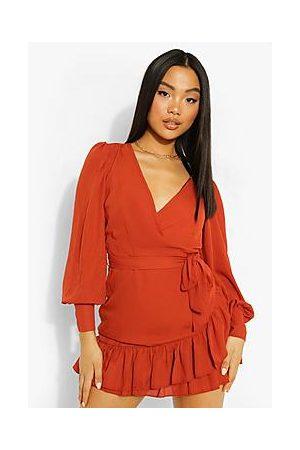 Boohoo Petite Frill Hem Belted Wrap Dress