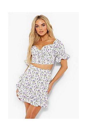 Boohoo Ditsy Floral Ruched Ruffle Mini Skirt