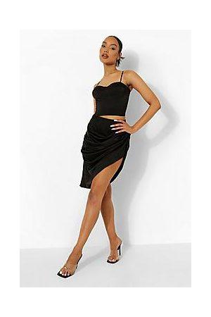 Boohoo Ruched Drape Skirt
