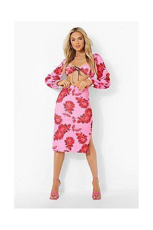 Boohoo Floral Sweetheart Crop & Midi Skirt