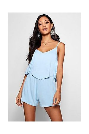 Boohoo Strappy Cami Overlay Playsuit