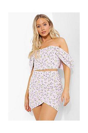 Boohoo Ditsy Floral Bardot Corset & Ruched Skirt