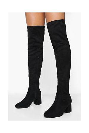 Boohoo Block Heel Over The Knee High Boots