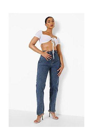 Boohoo Naiset Boyfriend - Vintage Wash Split Hem Jeans