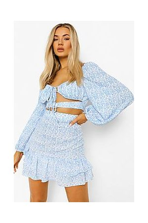 Boohoo Floral Cut Out Ruffle Skirt Co-ord